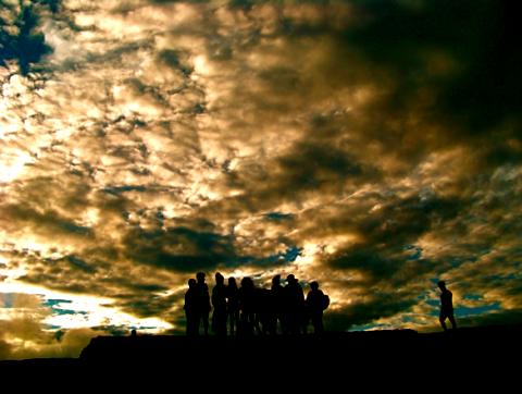 Chinesiche Reisegruppe auf dem Sigiriya Felsen