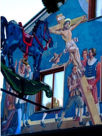 Oberammergau Häuserbemalung und Weihnachtsdeko