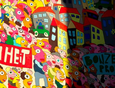 Friedliche Revolution - Wandbemalung am Leipziger Hauptbahnhof