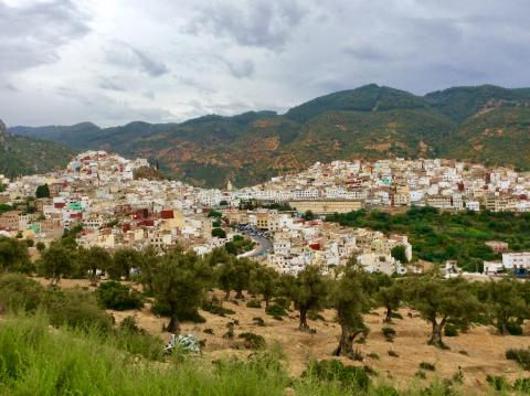 Blick auf Moulay Idris, heilige Stadt