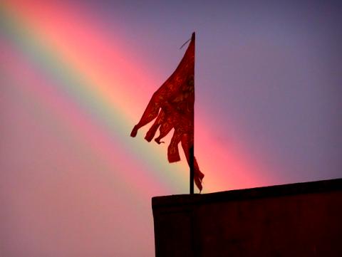Regenbogen und Sonnenuntergang über Venedig